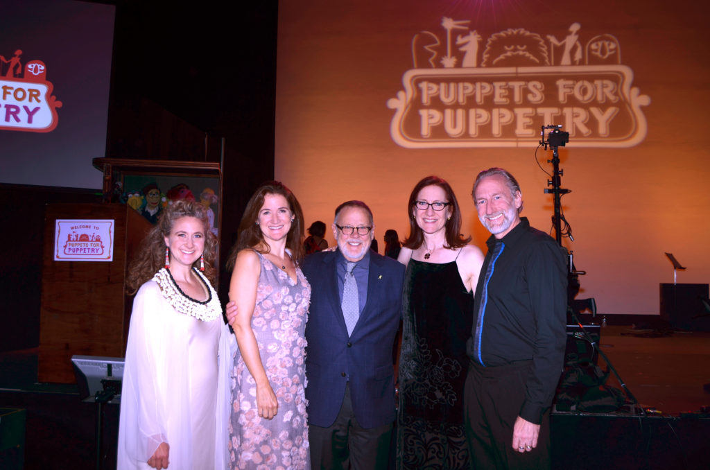 "Credit: (L to R) Heather Henson, Cheryl Henson, honoree Dave Goelz, Lisa Henson, Brian Henson at the ""Puppets for Puppetry"" fundraiser on Saturday, September 24, 2016. All photos courtesy of The Jim Henson Company. © 2016 The Jim Henson Company."